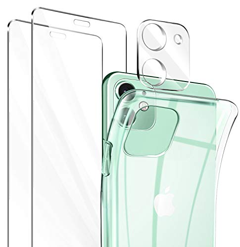 Leathlux Funda iPhone 11 + 2 Pack Cristal Templado Protector de Pantalla + Protector de Lente de Cámara, Silicona Transparente TPU Anti-arañazos Carcasa iPhone 11