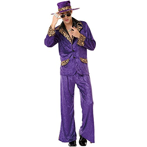 Honey Hustler Herren Halloween-Kostüm 70er & 80er Jahre Big Pimpin Pimp Daddy Anzug - Violett - X-Large