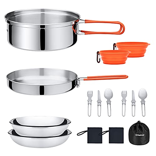 KingCamp 17pcs Camping Cookware Mess Kit, Backpacking Cooking Set, Outdoor Camp Gear Accessories for Family Hiking Picnic Lightweight Cookware Sets