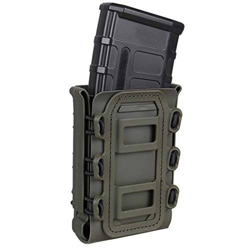 IDOGEAR Mag Pouch 5.56mm 7.62mm Rifle Magazine Pouches Molle Fastmag Softshell Universal Mag Carrier for Airsoft Shooting M4 AR M16 (Ranger Green)