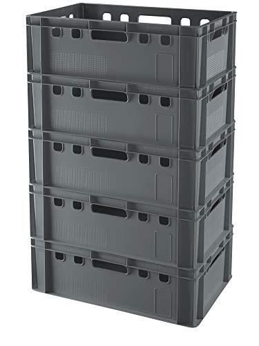 5 Stück E2 Kisten 60x40x20 Fleischkiste Lagerkiste Metzgerkiste in grau