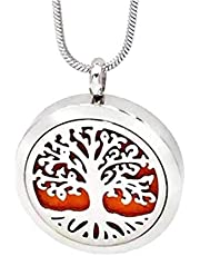 GUUTUUG Aromaterapia Aceite Esencial Collar difusor árbol de la Vida Collar Colgante de aromaterapia Locket 12 Almohadillas de Repuesto Collar de Cadena Ajustable