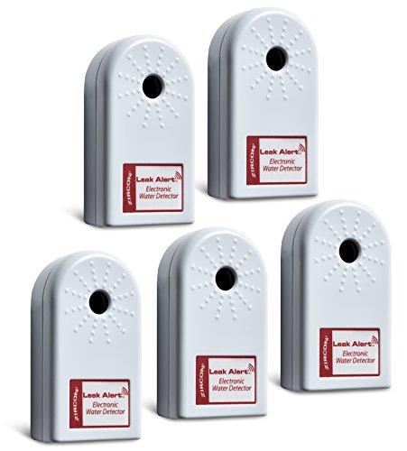 Zircon - 68319 LeakAlertWaterLeakDetector & Flood Sensor Alarm / WaterLeakSensor with DualLeakAlarms 90dB Audio / Battery Powered (5 Pack) Batteries Included