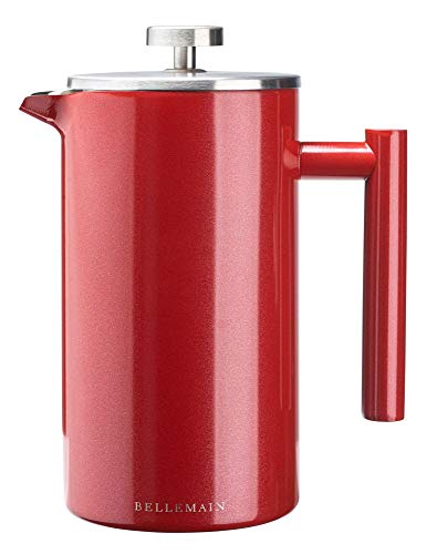 Bellemain French Press - Extra Filters Included - Coffee and Tea Maker - Stainless Steel- (Red, 35 oz)