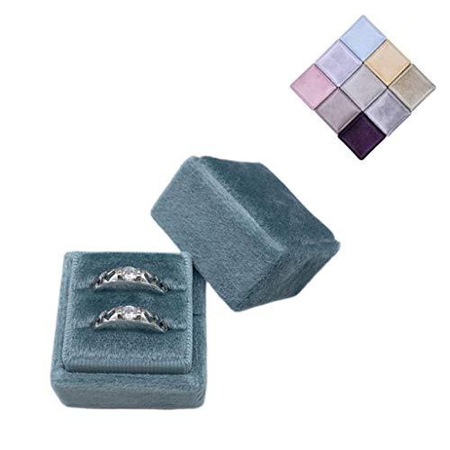 VVXXMO Caja de anillo de terciopelo cuadrado,Soporte de exhibición de anillo doble,Tapa desmontable para ceremonia de boda