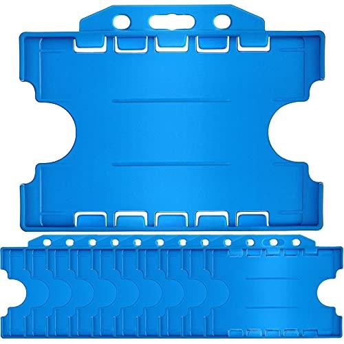 10 Soportes de Tarjeta de Identificación de Doble Cara, Porta Tarjeta de Identificación de Cara Abierta Protector de Placa de Plástico Duro con Orificio para Cordón, 3,3 x 2,1 Pulgadas, Azul