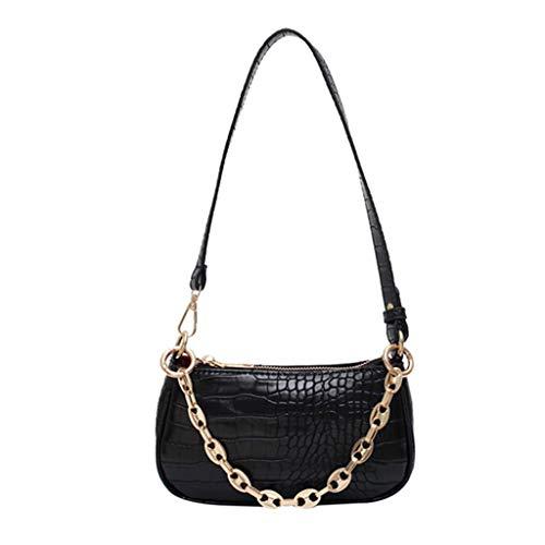 haia7k4k Bolso de hombro de piel con patrón de cocodrilo para mujeres y niñas, regalo de cumpleaños, color Negro, talla Medium
