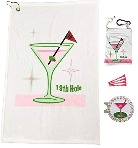Giggle Golf Par 3 - Golf Towel, Tee Bag with 4 Tees, and Bling Ball Marker with Hat Clip - Perfect Golf Gift for Women (19th Hole)