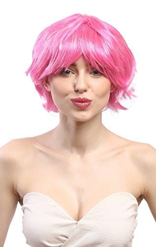 WIG ME UP - 90862-ZAC5B-ZA28 Perruque Dames Carnaval Court ondulé, Sexy Rose Glam Disco