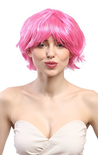 WIG ME UP - 90862-ZAC5B-ZA28 Perruque Dames Carnaval Court ondulé, Sexy Rose Glam Disco