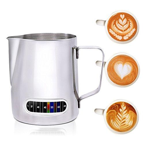 Bricco da caffè latte con termometro integrato, in acciaio INOX (600ml)