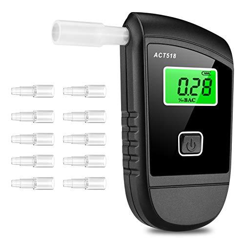 Migimi Etilometro Portatile Digitale, Alcool Test Professionale con Sensore Semiconduttore, Breath Analyzer con Schermo LED Display incluir 10 Bocchini e 2 Batterie AAA