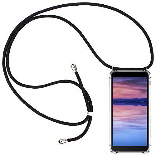 CLM-Tech Carcasa con Cuerda para Colgar Compatible con Xiaomi Redmi 6A - Funda Silicona Transparente con Cordon para Llevar en el Cuello, Negro