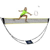 LEADNOVO Portable Adjustable Foldable Badminton Net Set with Carrying Bag