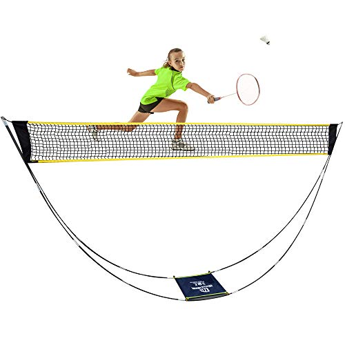 LEADNOVO Newest Portable Badminton Net Set, 3m Adjustable Foldable Volleyball Tennis Badminton Net with Carrying Bag for Outdoor, Indoor, Beach, Backyard, Park. No Tools or Stakes Required