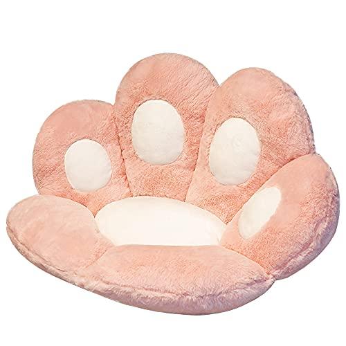 SIPERLARI Cojín de asiento de gato con diseño de pata de gato, cojín de felpa, suave y cálido para sofá de oficina, cojín de asiento de oficina, alfombrilla de gato para decoración del hogar (rosa)