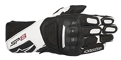 Alpinestars Men's SP-8 v2 Leather Motorcycle Glove, Black/White, Large from Alpinestars