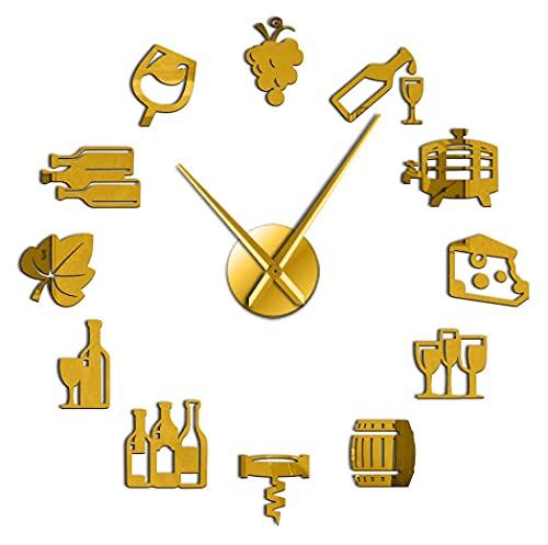 J-Clock Barril Vino Reloj Pared Grande DIY Moderno Etiqueta Espejo 3D Metal, Relojes Grandes silenciosos Decoraciones Escolares Oficina en casa
