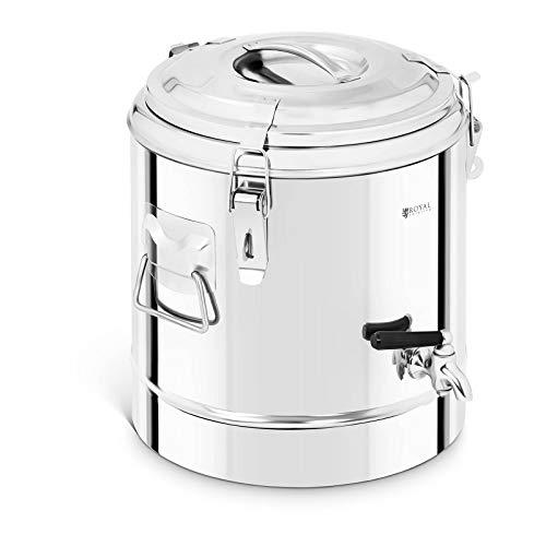 Royal Catering RCTP-12ET Thermobehälter Edelstahl 12 L mit Ablasshahn Thermo-Transportbehälter für Essen Thermobox Gastro Warmhaltebehälter für Speisen Thermoport