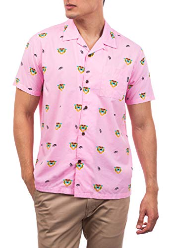 Hurley M Flourish Woven S/S Camisa, Hombre, Washed Pink
