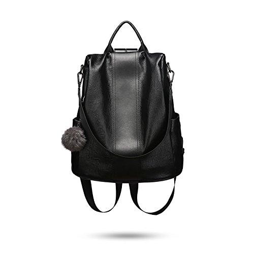 Tisdaini® Bolsos Mochila Mujer Moda Casual Viaje Retro Bolsos de Mano Mochila (Negro b)