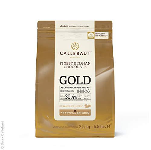 CALLEBAUT Gold - Kuvertüre Callets, Weiße Schokolade 30,4% mit Karamell, Karamellschokolade , 1x 2500 g