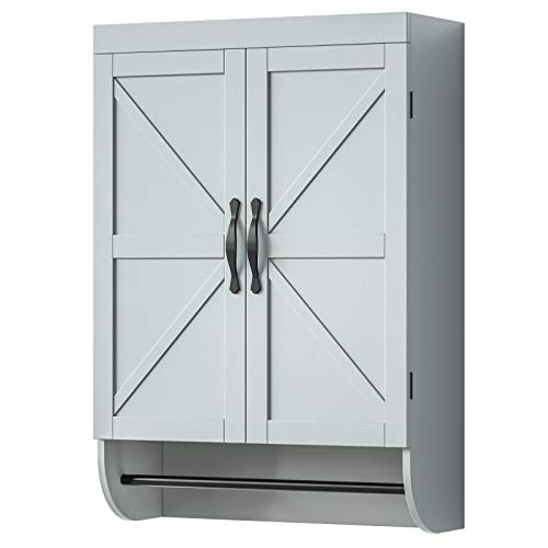 SRIWATANA Bathroom Wall Cabinet, Hanging Medicine Cabinet with Towel Bar and Adjustable Shelf, Wooden, Gray