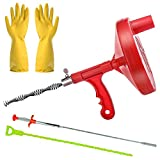 Gesoon Heavy Duty Drum Auger Plumbing Snake - 25 FEET Drains Cleaning Steel Cable for Removing Clogged Shower/Sink/Kitchen/Bathtub/Toilet and More