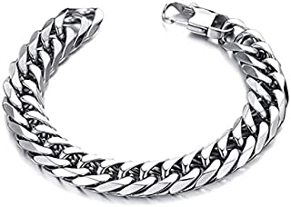 Europe Style Sliver Color Titanium Steel Square Buckle Bracelet For Male