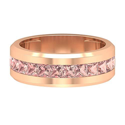 Modern Wedding Ring, 2.4 CT 3 MM Lab Created Morganite Ring, Princess Cut Gemstone Ring, Anniversary Band, Engagement Band Ring, Promise Ring, 14K Rose Gold, Size:UK O