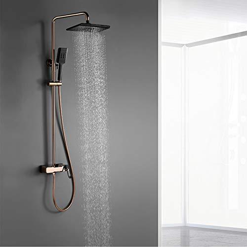 Sistema de ducha con caño de bañera, juego de ducha mezclador de lluvia de latón, juego de grifo de ducha de baño, grifo de bañera de montaje en pared negro rosa