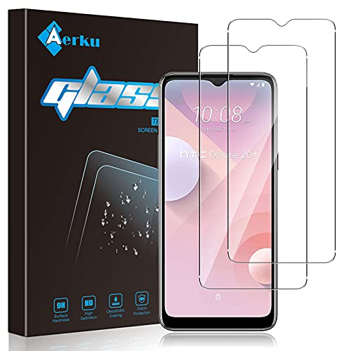 Aerku Schutzfolie Kompatibel mit HTC Desire 20 Plus Panzerglas,[9H-Festigkeit] [Anti-Bläschen] [Anti-Kratzen] HD klar Folie Ultra Glatte Bildschirmschutz Gehärtetes Glas [2 Stück]