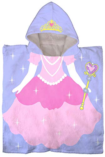 Jay Franco Trend Collector Princess Kids Bath/Pool/Beach Hooded Poncho Towel - Super Soft & Absorbent Cotton Towel - Measures 22 x 22 Inches