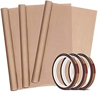 "3 Pack PTFE Teflon Sheet 12 x 16"" and 3 Rolls 10mm X 33m Heat Resistant Sublimation Tape,Thermal Tape for Heat Press Transfer,Non Stick Paper Reusable Craft Mat,Protects Iron,for Heat Press Machines"