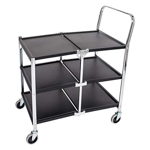Luxor 3 Shelf Collapsible Metal Service Utility Cart - Black/Chrome