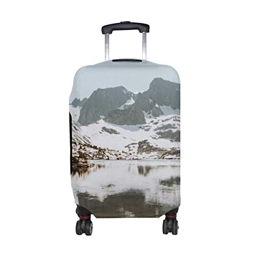 Lake Mountains Snow Pattern Print Travel Luggage Protector Baggage Suitcase Cover Fits 18-21 Inch Luggage
