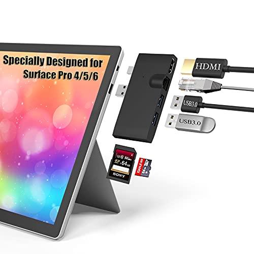 Bawanfa Surface Pro 4/5/6 Docking Station USB Hub + 1000M Ethernet LAN + 4K HDMI + 2 USB 3.0 Port + SD/TF (Micro SD) Card Reader for Microsoft Surface Pro 4/ Pro 5/ Pro 6