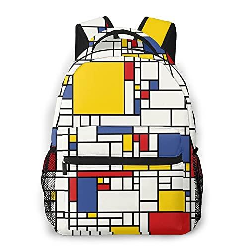 Mochila de viaje para portátil,mosaico abstracto amarillo Piet Mondrian Línea geométrica roja Diseño moderno en blanco y negro,Mochila antirrobo resistente al agua para empresas,delgada y duradera