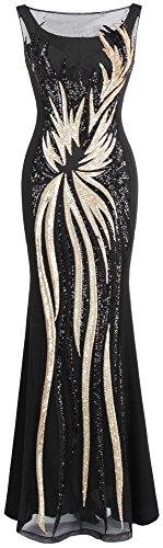Angel-fashions Damen Schier Gold Pailletten Schwarz Splei?en Abendkleid XLarge
