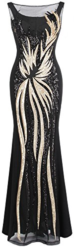 Angel-fashions Damen Schier Gold Pailletten Schwarz Splei?en Abendkleid Large