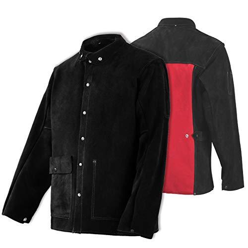 Leather Welding Jacket - Heat & Flame-Resistant Heavy Duty Split Cowhide Leather FR Work Safety Jacket, Black (XX-Large)