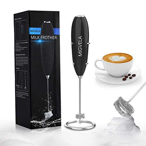 MIGVELA Milk Frother Handheld Double Whisk One-Button Foam Maker for Coffee Latte Cappuccino Hot Chocolate (Black)