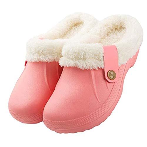 Skxinn Unisex Clogs Winter Warme Gefüttert Hausschuhe Leicht rutschfeste Home Slipper Knöchel Pantoffeln Bequeme Pantoffeln wasserdichte Gartenschuhe für Damen Herren(Rosa,EU:38-39)