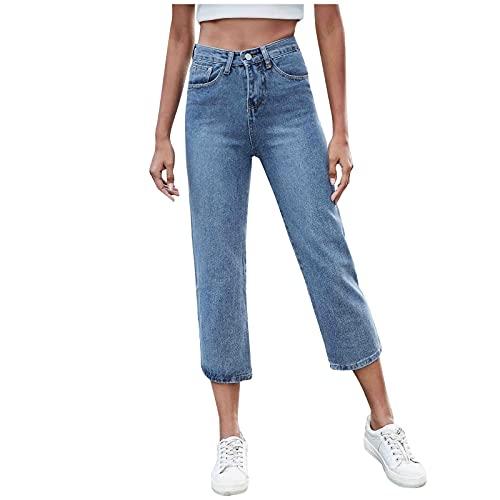 Beudylihy Pantalones vaqueros rasgados para mujer, cintura elástica, ajustados, cintura alta, elásticos, de moda urbana, lavados Blue4 XXL