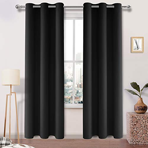 DWCN Black Thick Blackout Curtain Room Darkening Thermal Insulated Grommet Top Window Drapes for Bedroom Block Out Light Curtain Panel 42 x 84 Inch,1 Panel