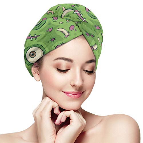 Seamless Pattern Zombie Eyes Super Absorbent Dry Hair Cap Anti Frizz Hair Towel Quick Drying Towels for Lady and Girls Bath Spa