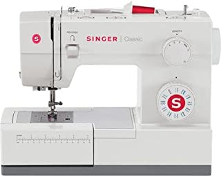Singer Classic Heavy Duty Mechanical Sewing Machine Extra-high sewing speed Automatic needle threader with top drop-in bobbin, white and gray sewing machine