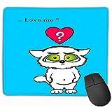 Kundengebundenes Rechteck Mousepad, niedliches Spiel Mousepad 30X25CM lieben Sie mich niedliche Katze Valentinsgruß-Karten-blaue lustige Miezekatze-bunte rote...