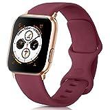 AK kompatibel mit Apple Watch Armband 42mm 38mm 44mm 40mm, Weiche Silikon Sport Ersatz Armband für iWatch Series SE, Series 6, Series 5, Series 4, Series 3, Series 2, Series 1 (Weinrot, 38/40mm S/M)