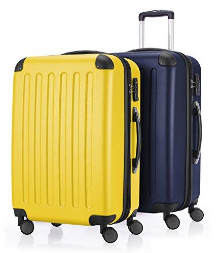 HAUPTSTADTKOFFER - Spree - 2er Koffer-Set Hartschale Matt, TSA, 65 cm mit Volumenerweiterung, Gelb-Dunkelblau